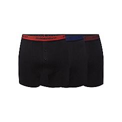 Hammond & Co. by Patrick Grant - Big and tall pack of three black logo waistband boxer shorts