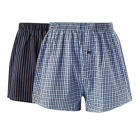 Thomas Nash - Pack of two navy checked and striped boxer shorts
