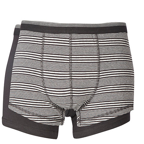 Thomas Nash - Pack of two black plain and striped hipster trunks