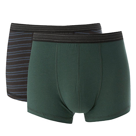 Thomas Nash - Pack of two dark green and dark blue hipster trunks