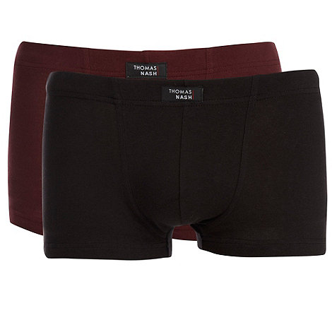 Thomas Nash - Pack of two black and wine hipster trunks