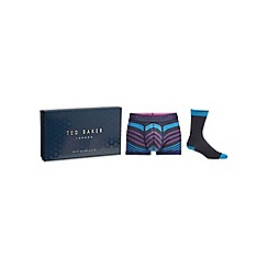 Ted Baker - Navy stripe socks and boxer gift set
