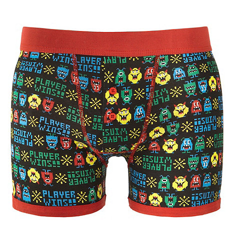 Red Herring - Black +Player Wins+ slogan printed boxer shorts