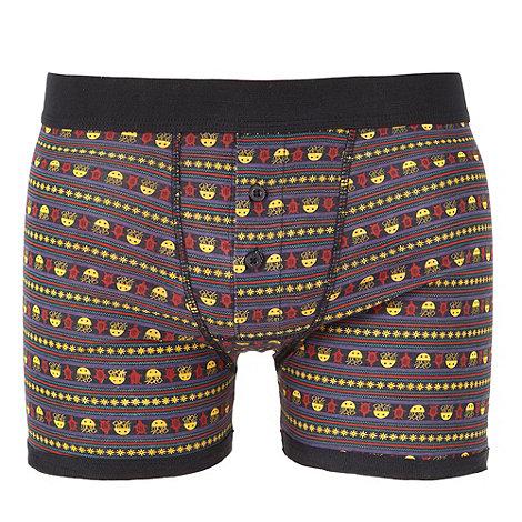 Red Herring - Black ocean themed fairisle printed boxer shorts