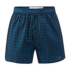 Calvin Klein - Turquoise checked slim fit boxers