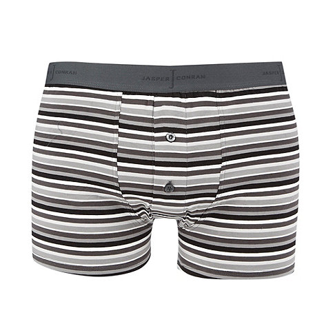 J by Jasper Conran - Light grey striped two button boxers