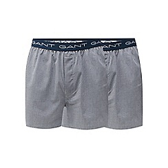 Gant - Pack of two blue woven checked boxer shorts