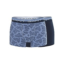 Gant - Pack of two blue cotton stretch paisley print trunks