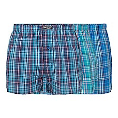 Mantaray - Pack of three blue woven boxers