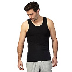 The Collection - Big and tall pack of two black vest tops