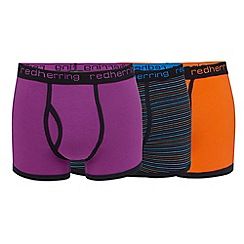 Red Herring - Big and tall pack of three assorted plain and printed keyhole trunks