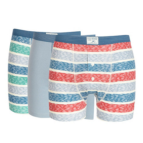 Mantaray - Pack of three blue block striped button boxers