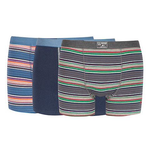 Mantaray - Pack of three navy striped hipster trunks