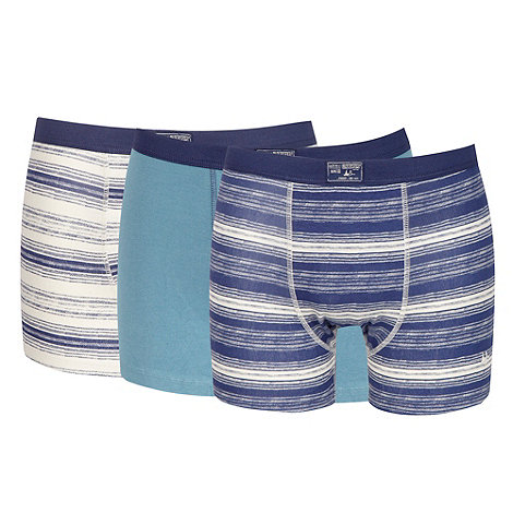 Mantaray - Pack of three blue striped hipster trunks
