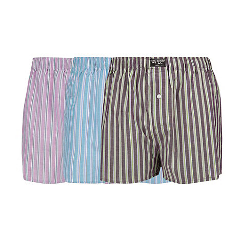 Mantaray - Pack of three blue purple and lilac striped woven boxers