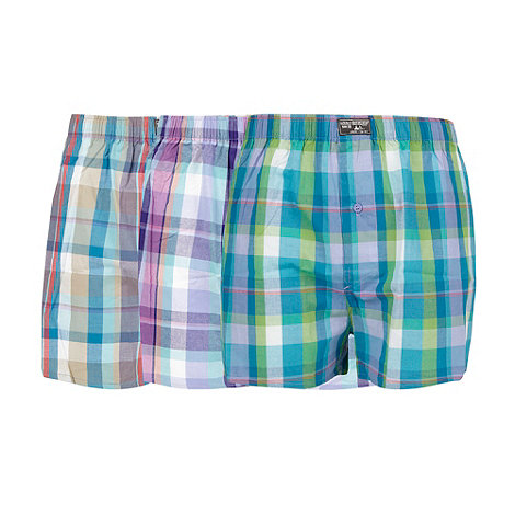 Mantaray - Pack of three blue and purple checked boxer shorts