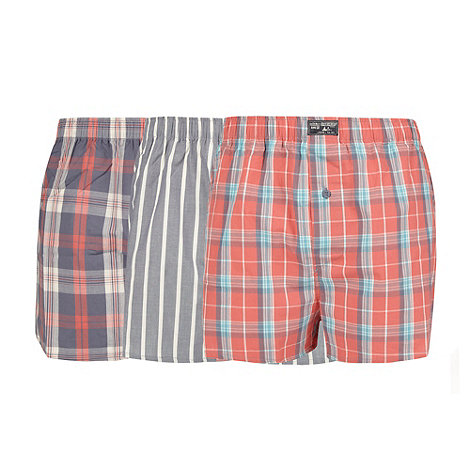Mantaray - Pack of three grey and peach woven boxer shorts