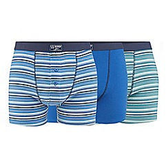 Mantaray - Big and tall pack of three blue plain and striped button boxers