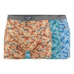 Mantaray - Big and tall pack of three assorted leaf print hipster trunks