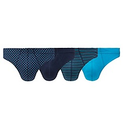 The Collection - Pack of four blue assorted print thongs