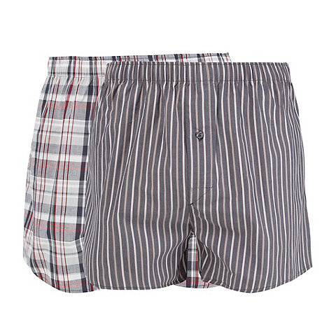 Thomas Nash - Pack of two grey checked boxers