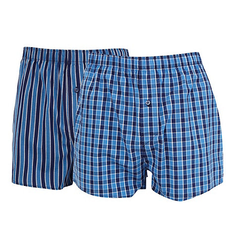 Thomas Nash - Pack of two blue striped and checked woven boxers