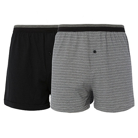 Thomas Nash - Pack of two black plain and fine striped boxers