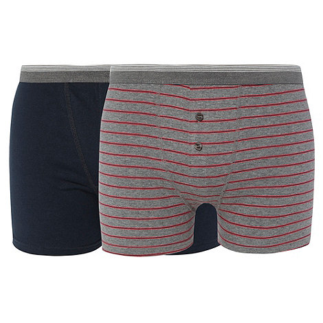 Thomas Nash - Pack of two navy and grey thin striped boxers