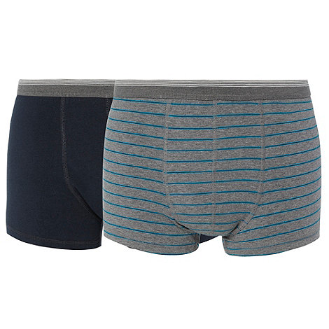 Thomas Nash - Pack of two navy and grey thin striped hipster trunks