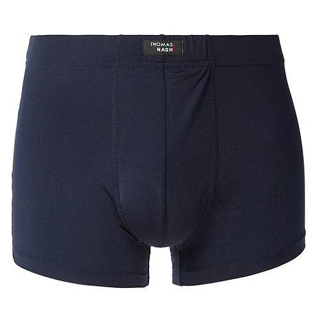 Thomas Nash - Navy plain microfibre hipster trunks