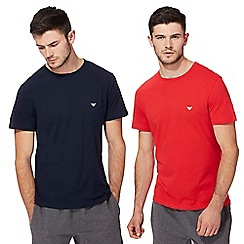 Emporio Armani - Pack of two red and navy crew neck t-shirts