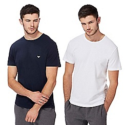 Emporio Armani - Pack of two white and navy crew neck t-shirts