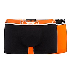 Emporio Armani - Pack of two orange and black trunks
