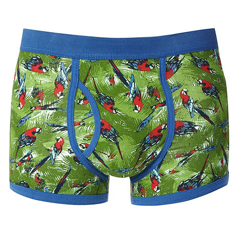 Red Herring - Green parrot print trunks