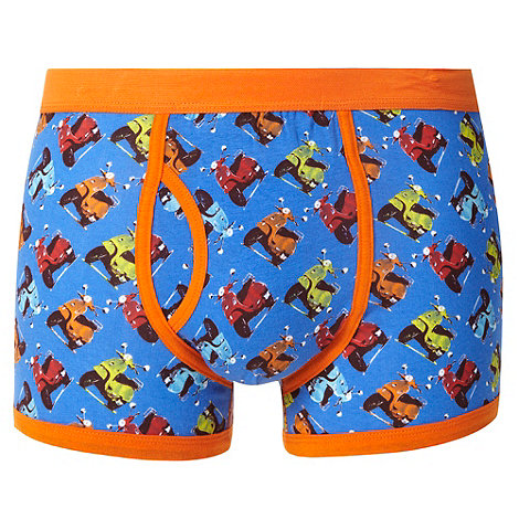 Red Herring - Blue scooter print trunks