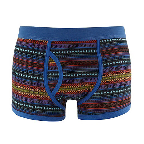 Red Herring - Blue bold aztec striped trunks
