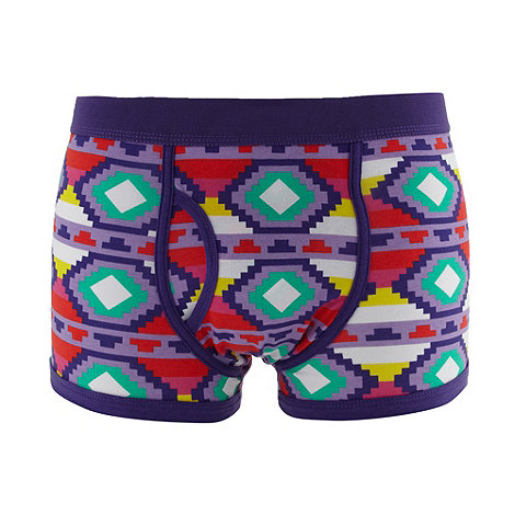 Red Herring - Purple jumbo aztec printed trunks