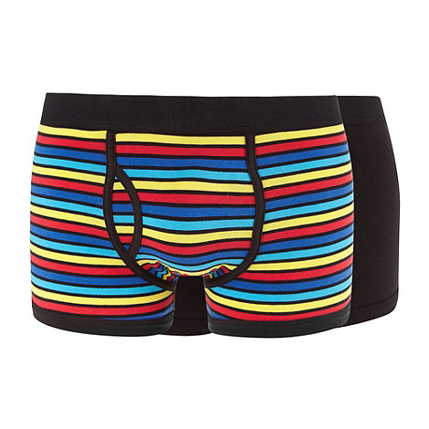 Red Herring - Pack of two black plain and multi striped trunks