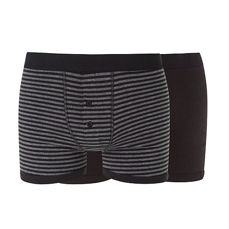 Red Herring - Pack of two black plain and striped boxers
