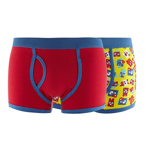 Red Herring - Pack of two blue plain and character printed trunks