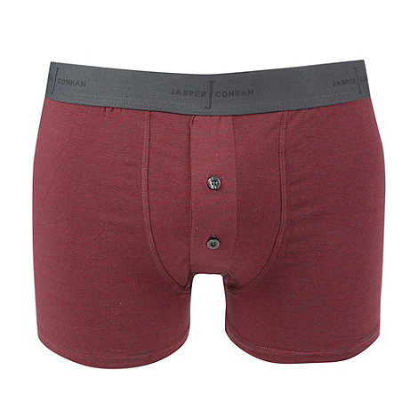 J by Jasper Conran - Dark red fine striped two button boxers