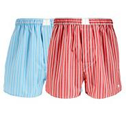 Designer pack of two red and blue striped boxers