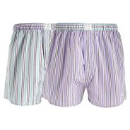Designer pack of two lilac and light green striped boxers