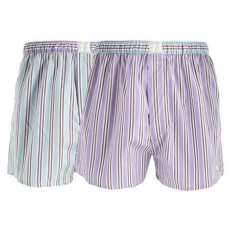 J by Jasper Conran - Designer pack of two lilac and light green striped boxers