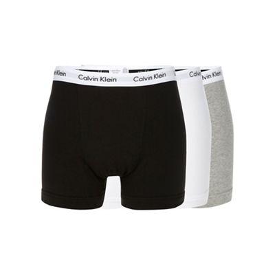 Calvin Klein Underwear Pack of three grey, black and white cotton stretch trunks - . -