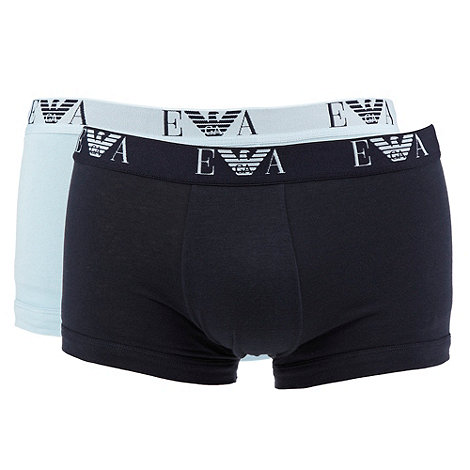 Emporio Armani - Pack of two blue flexible fit trunks