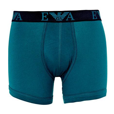 Emporio Armani - Dark green woven logo boxer briefs