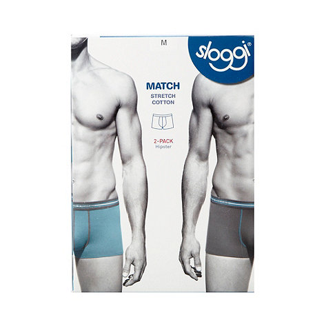 Sloggi - Pack of two light turquoise hipster trunks