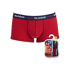 Sloggi - Pack of two red and navy hipster trunks