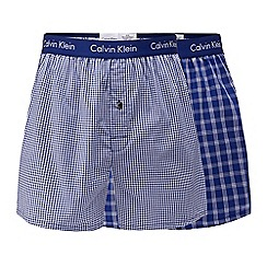 Calvin Klein - Pack of two blue striped slim fit boxers